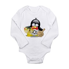 Penguin Hanukkah Long Sleeve Infant Bodysuit