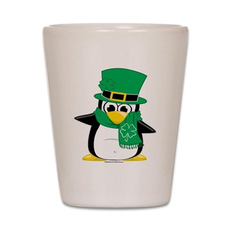 Irish Penguin Scarf Shot Glass