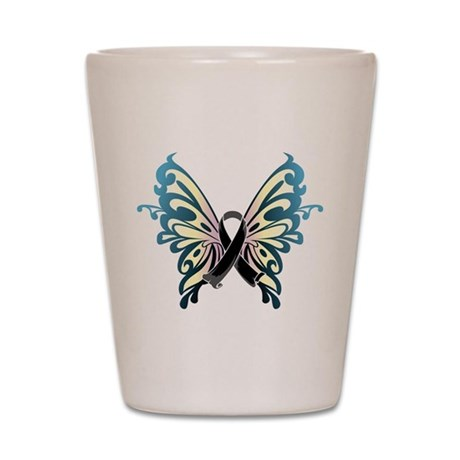 Skin Cancer Butterfly Shot Glass