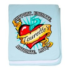 Tourette's Tattoo Heart baby blanket