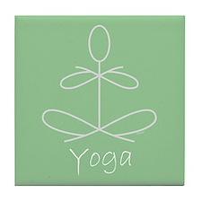 Yoga Glee in Green Tile Coaster