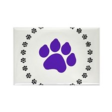 Blue Paw Print Rectangle Magnet (10 pack)
