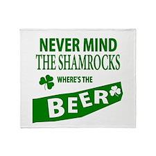 St Patrick Irish Wheres Beer Throw Blanket