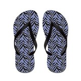 Black and Blue Zebra Flip Flops