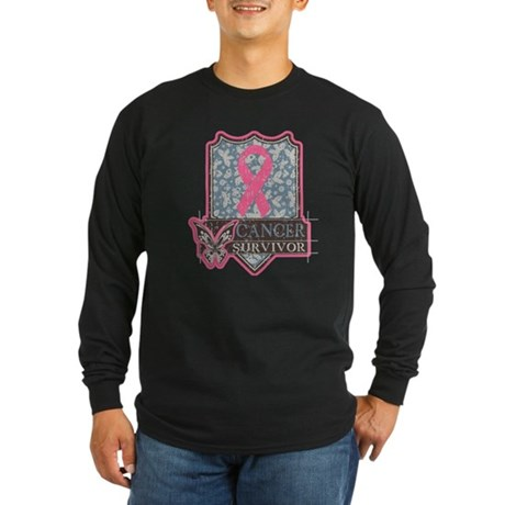Breast Cancer Survivor Artsy Long Sleeve Dark T-Sh