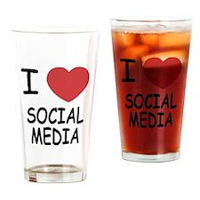 I heart social media Drinking Glass