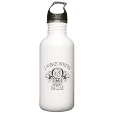 I Wear White for my Mom (flor Water Bottle