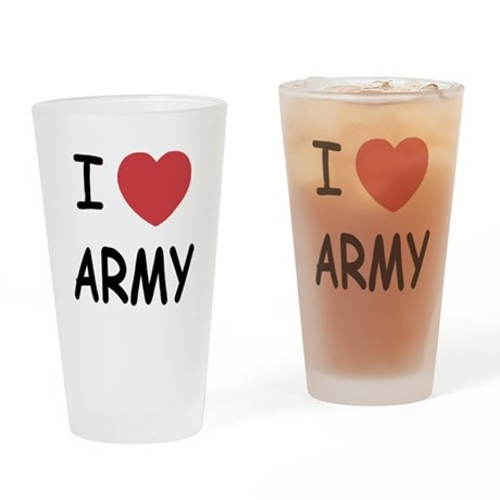 I heart Army Drinking Glass