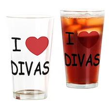 I heart divas Drinking Glass