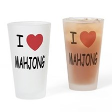 I heart mahjong Drinking Glass