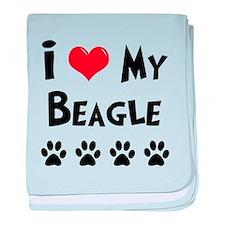 I Love My Beagle baby blanket
