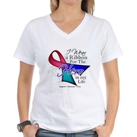 Thyroid Cancer Hero Women's V-Neck T-Shirt