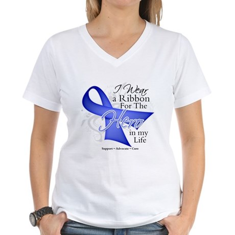 Esophageal Cancer Hero Women's V-Neck T-Shirt