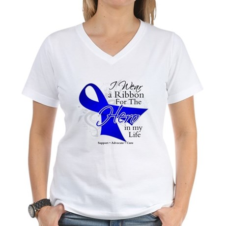 Colon Cancer Hero in My Life Women's V-Neck T-Shir