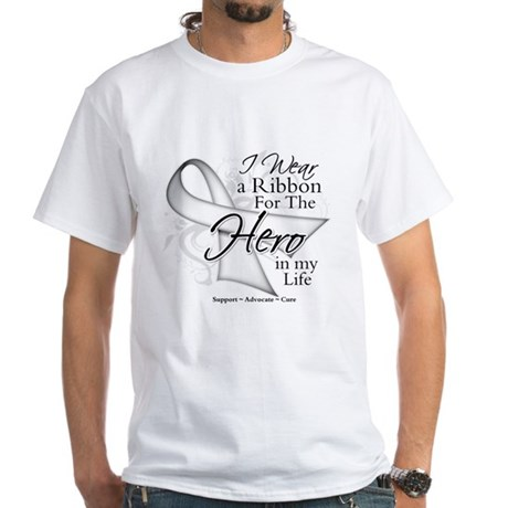 Bone Cancer Hero in My Life White T-Shirt