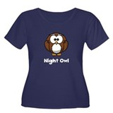 Night Owl Women's Plus Size Scoop Neck Dark T-Shir