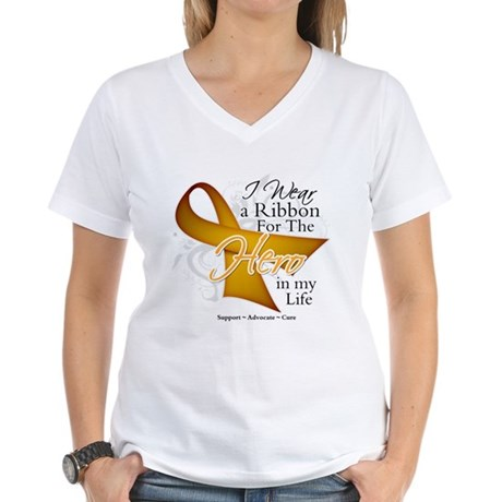 Appendix Cancer Hero Women's V-Neck T-Shirt