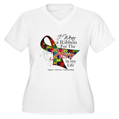 Autism Hero in My Life Shirts Women's Plus Size V-