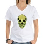 Green Skull Women's V-Neck T-Shirt