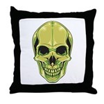 Green Skull Throw Pillow