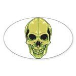 Green Skull Oval Sticker (50 pack)