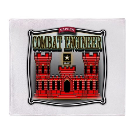 Army Sapper Badge Combat Engineer Throw Blanket
