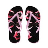 Pink and Black Polka Dot Bows Flip Flops
