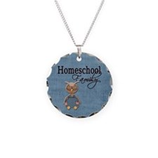 Wise Owl Homeschool Family Blue Background Necklac