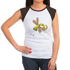 Adorable Green Dragonfly Women's Cap Sleeve T-Shir
