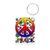Retro Peace Sign & Flowers Aluminum Photo Keychain