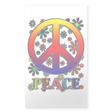 Retro Peace Sign & Flowers Decal