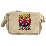 Retro Peace Sign & Flowers Messenger Bag