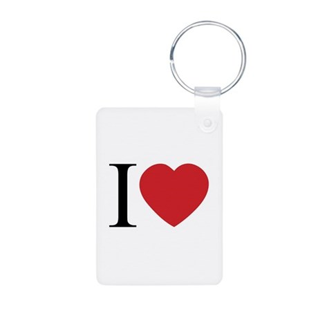 I LOVE (Heart) Aluminum Rectangle Keychain