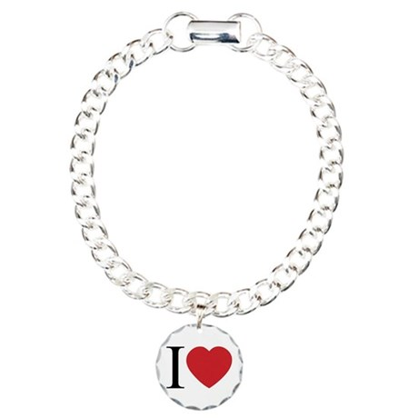 I LOVE (Heart) Charm Bracelet with Circle Charm