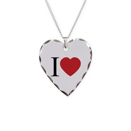 I LOVE (Heart) Necklace with Heart Charm