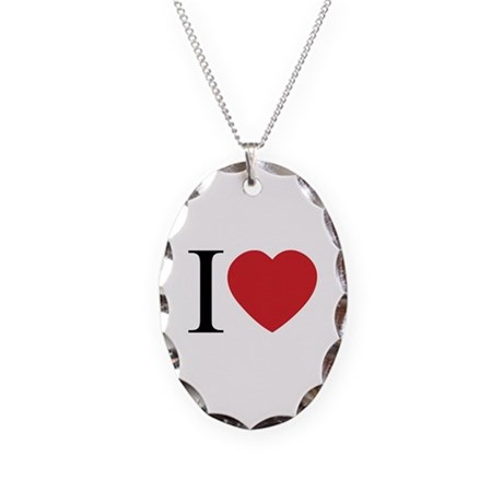 I LOVE (Heart) Necklace with Oval Charm