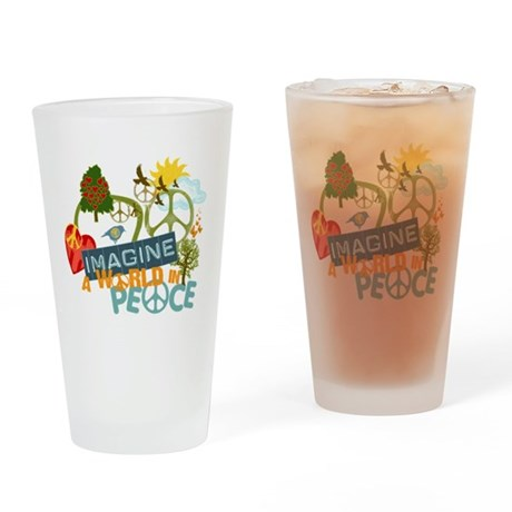 Rainbow Peace Abtract Art Drinking Glass