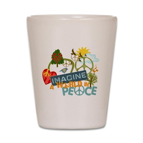 Rainbow Peace Abtract Art Shot Glass
