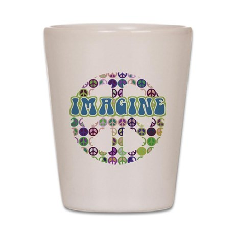 Retro Peace Sign Imagine Shot Glass