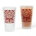 Red Damask Retro Drinking Glass