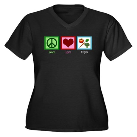 Peace Love Vegan Women's Plus Size V-Neck Dark T-S