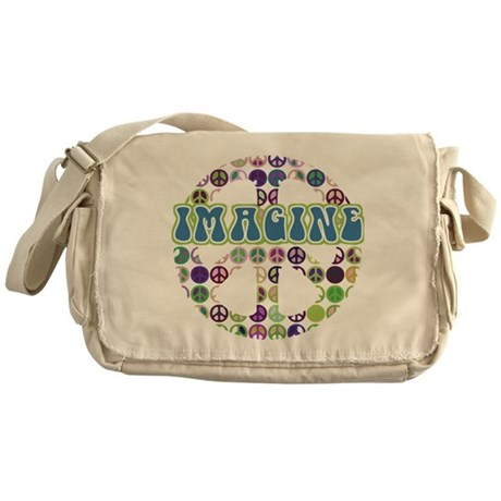 Retro Peace Sign Imagine Messenger Bag