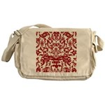 Red Damask Retro Messenger Bag