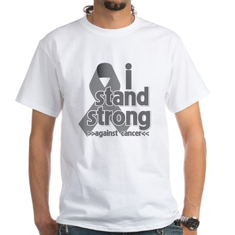 Stand Strong Brain Cancer White T-Shirt