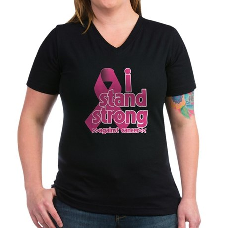 Stand Strong Breast Cancer Women's V-Neck Dark T-S