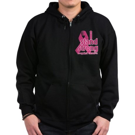 Stand Strong Breast Cancer Zip Hoodie (dark)