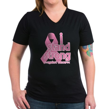 Breast Cancer Stand Strong Women's V-Neck Dark T-S
