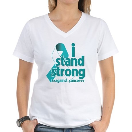 Stand Strong Cervical Cancer Women's V-Neck T-Shir
