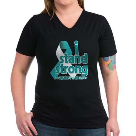 Stand Strong Cervical Cancer Women's V-Neck Dark T