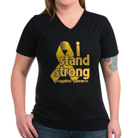 I Stand Childhood Cancer Women's V-Neck Dark T-Shi